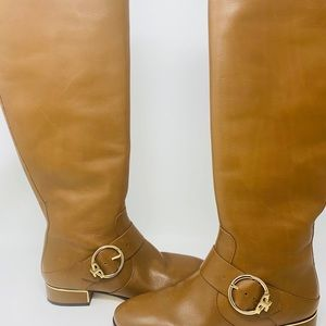Tory Burch Tall Riding Leather Gold Buckle Boots
